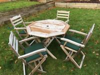 Teak outdoor patio table and chairs