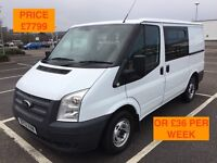 2012 FORD TRANSIT CREW CAB 100 T260 FWD / NEW MOT / PX WELCOME / NO VAT / 6 SEATS / WE DELIVER