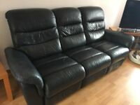 2 large recliner settees with storage footstool in navy