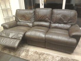Brown Leather 3+2 seat recliner sofa