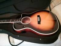 HAGSTROM SILJAN 11 E/ACOUSTIC GUITAR IN TABACCO SUNBURST *IN NEW CONDITION * WITH NEW HARD CASE