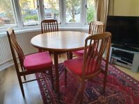 Tables and chairs, Benny Linden teak extending table