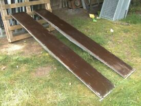 PAIR OF 8FT TRAILER RAMPS GALV STEEL BRACED FRAME / PHENOLIC BOARD TREADS...