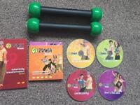 Zumba fitness DVD set and toning sticks