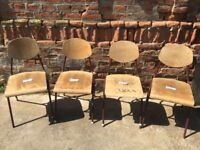 BROWN Vintage Metal Frame School Chairs Solid Plywood Dining Seats Seating Retro
