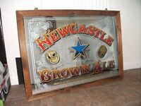 """Large Vintage Pub Mirror, Newcastle Brown Ale. Approx 35"""" x 25"""". Good Condition."""