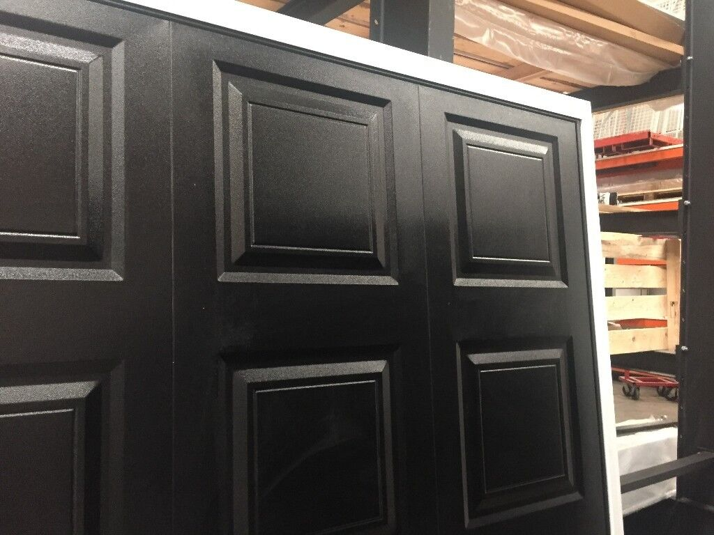Garage Door Cardale Georgian Canopy In Black With White Frame 610w