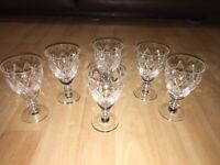 Set Of 6 Vintage Cut Glass Sherry Port Glasses - Derby Area