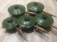 Le Creuset Pans set of 5 with lids in forest green.