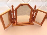 Solid pine three mirror for dresser unit.