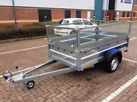 "Car box trailer Faro Tractus 7'7"" x 4'1"" + 1'4"" mesh side"