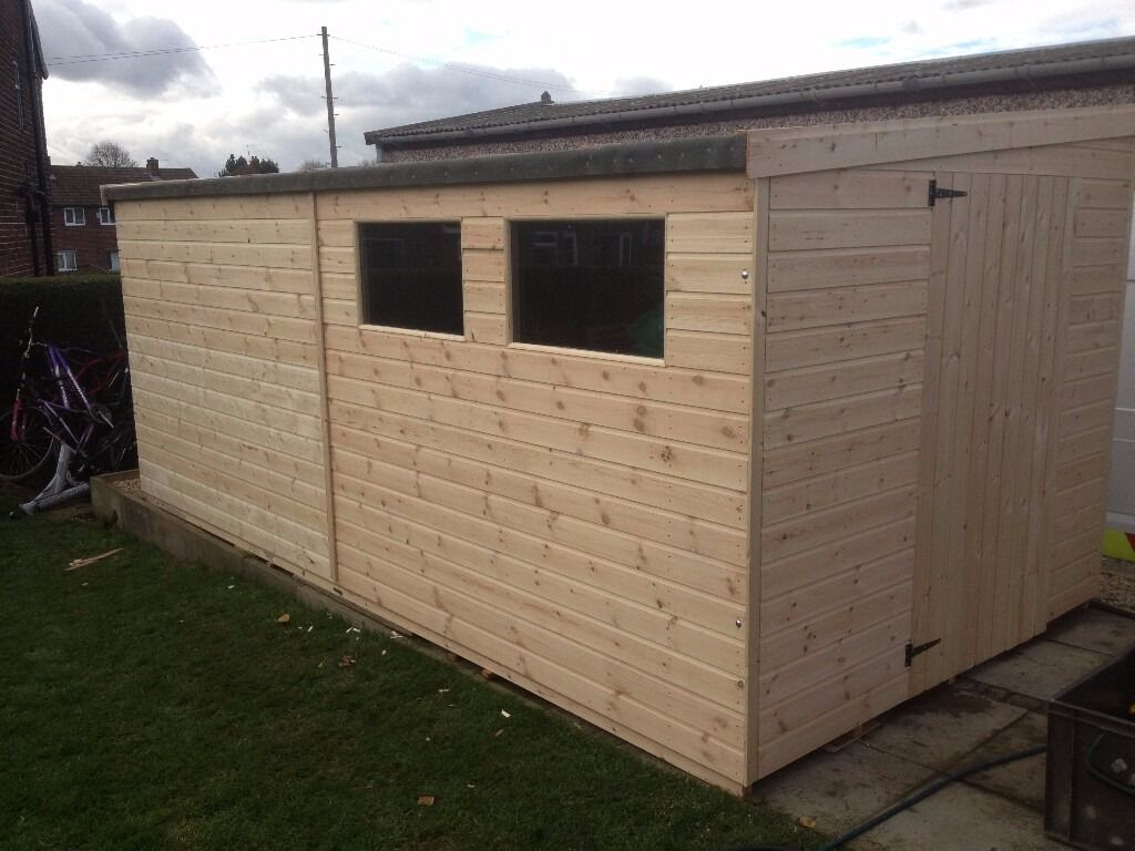 Wooden garages in nottinghamshire - Garden Pent Shed Workshop 10x8 Heavy Duty Tongue And Groove Well Made Buildings Nottinghamshire