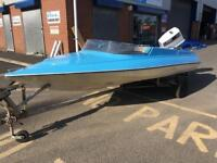 Simms super vee speed boat with Johnson outboard
