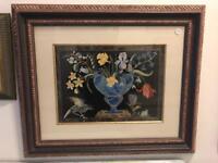 Lovely antique old vintage wooden framed picture