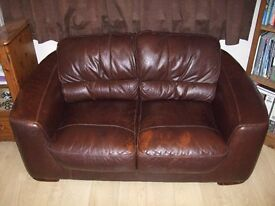 Sofa Real Leather Brown 2 Seater **Reduced**