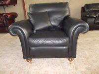 Italian Black Leather Scroll Arm Armchair (Sofa/Suite)