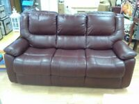 3 Seater Sofa + 2 Reclining Chairs. 100% Leather. 6 Months Old
