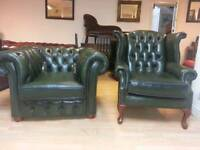 Lovely green leather Chesterfield club chair and high bage Quinn Anne armchair, Excellent condition
