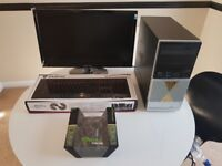 complete asus home or office pc i3 3.4ghz, 6gb, 500, 210 graphics 22in monitor new gaming kb+mouse