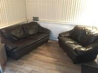3 + 2 Seater Brown Leather Sofas