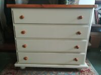 Solid pine shabby chic chest of drawers chalk painted in an antique cream