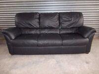 Natuzzi Italian Black Leather 3+2-seater Suite (Sofa)