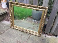 Shabby chic style vintage look mirror gold frame