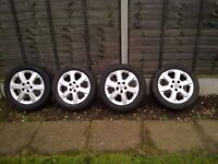 VAUXHALL 5 HOLE ALLOY WHEELS /TYRES 205/50/16 IN VGC