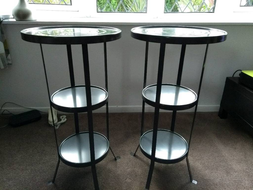 Ikea Nern Grey Metal Side Tables X 2 End Hall Table Telephone