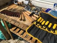 job lot chisels, stanley marksman, 2 planes, 2 vices, ect