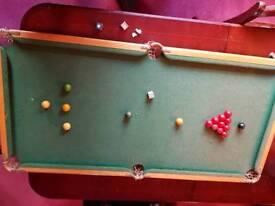 Vintage table top snooker table and balls