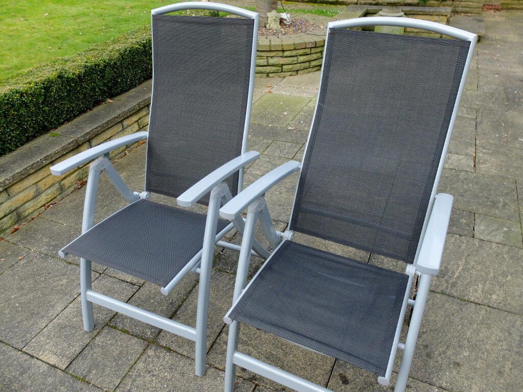 Pair of folding, reclining garden chairs