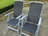 Pair of folding, reclining garden chairs