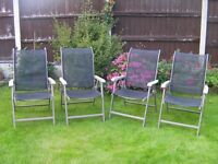 4 good quality Fold away Garden chairs, strong and comfortable,