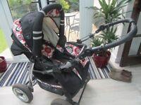 STROLLER/PRAM/PUSHCHAIR & CAR SEAT BABY MERC AGAT LUX RED & BLACK WITH RAIN COVER