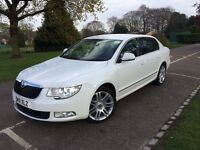 [[ AUTOMATIC SATNAV LEATHER WHITE ]] SKODA Superb 2.0 TDI DSG 5dr