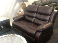 Denver Brown 2-Tone 3 + 2 Sofa Suite Set PU Leather BRAND NEW