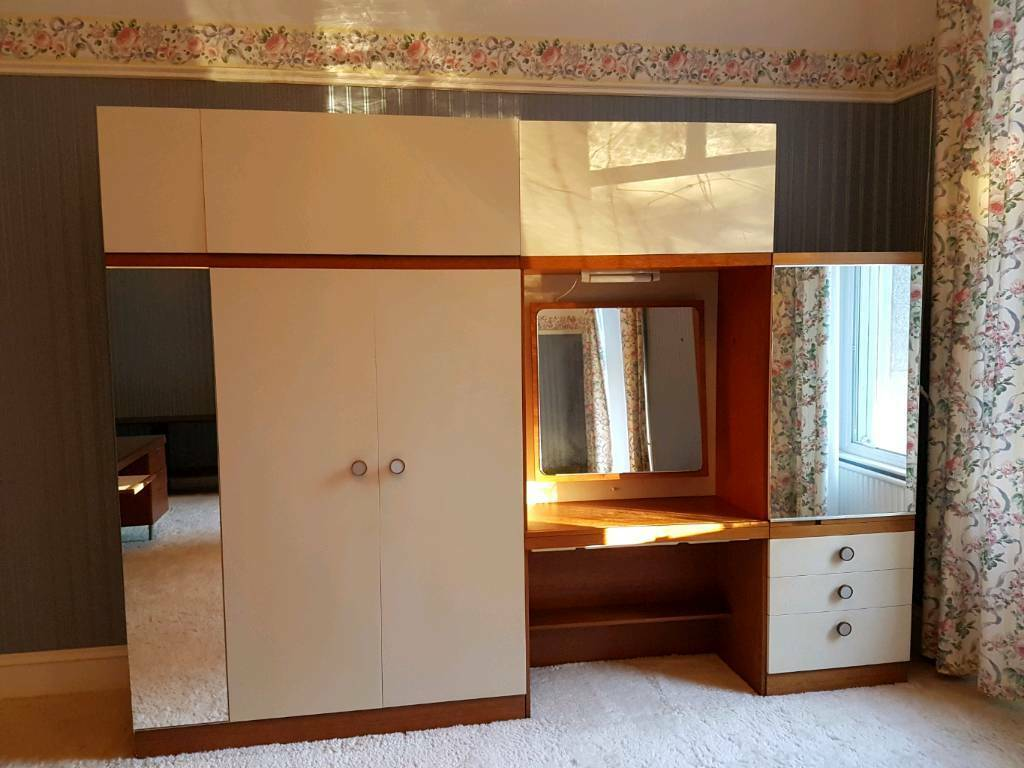 1960s Style Retro Schreiber Bedroom Furniture Wardrobe Storage Unit With Drawers And Vanity