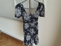 Size 8 Dorothy Perkins black dress/top with white butterfly & flower pattern