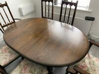 Table with 6 chairs Ercol