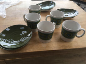 English Ironstone Pottery 1970s EIP cups and saucers in excellent condition