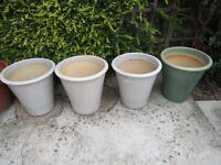 Garden glazed plant pots x 4