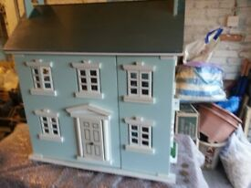 DOLLS HOUSE AND FURNITURE AND FIGURES