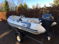 Avon 340 RIB c/w electric star 20hp Yamaha hp 4 stroke outboard engine & road trailer