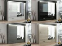 Excellent Quality-MARSYLIA WARDROBE IN BLACK WHITE AND GREY COLOR OPTIONS