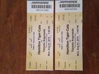 2 tickets to Hamilton tiger cats vs Toronto argos