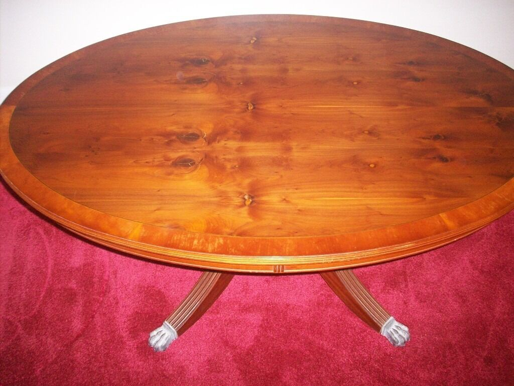 Yew Oval Coffee Table Metal Claw Feet
