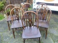 6 x Naturally Worn Shabby Chic Vintage Wooden Chairs - Fleur de Lys - ERCOL