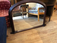 Over the Mantle Mirror - In good condition . Size L 38in x H 27in. Free Local delivery.