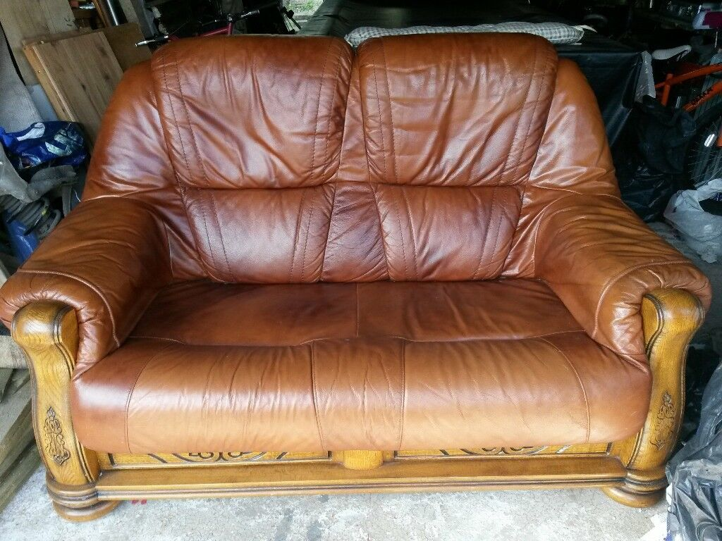 Vintage Style Oak Framed 2 Seater Leather Sofa In Bridgend Gumtree ~ Leather Sofa Vintage Style